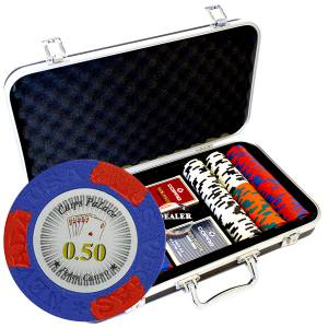 "Mallette Premium de 300 jetons de poker ""LAS VEGAS""  - version CASH GAME - en clay composite 14 g - avec accessoires"