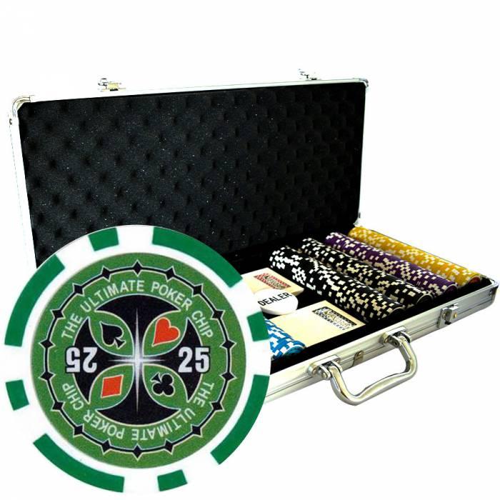 """Mallette de 400 jetons de poker """"ULTIMATE POKER CHIPS"""" - version TOURNOI - en ABS insert métallique 12 g - avec accessoires"""