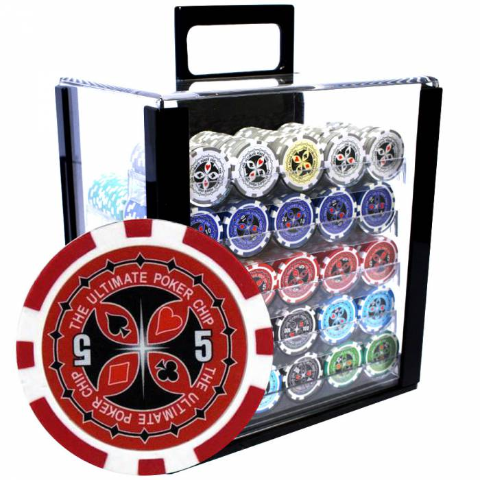 "Bird Cage de 1000 jetons de poker ""ULTIMATE POKER CHIPS"" - version CASH GAME - ABS insert métallique 12 g."