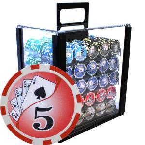 """Bird Cage de 1000 jetons de poker """"YING YANG"""" - version CASH GAME - ABS insert métallique 12 g."""