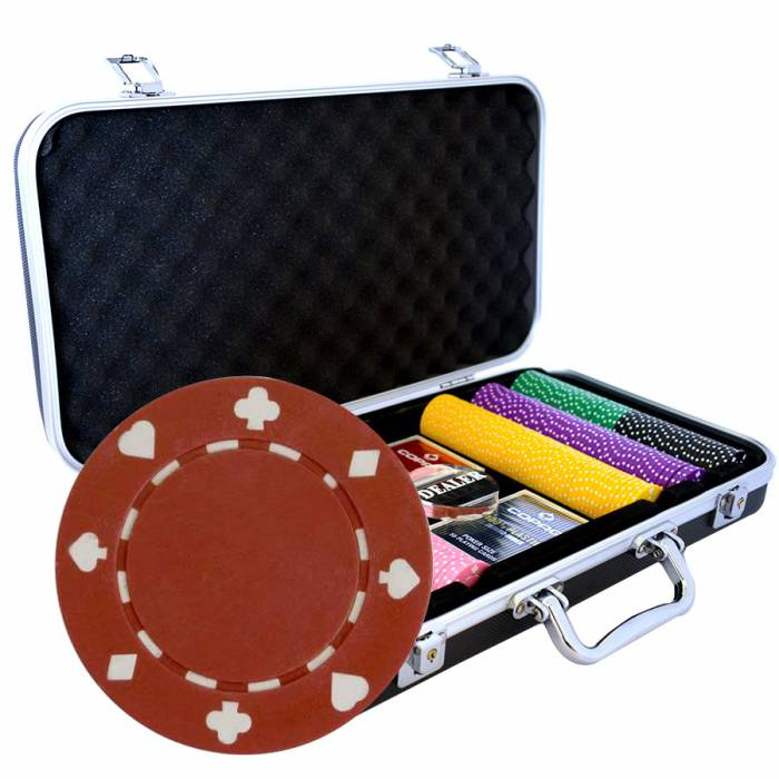"""Mallette Premium de 300 jetons de poker """"SUITED"""" - en ABS insert métallique 12 g - avec accessoires"""