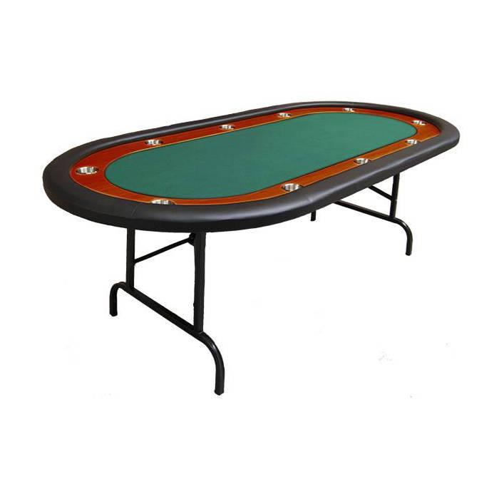 Table de poker NEVADA pliante – 10 joueurs – tapis feutrine - bords mousse et simili cuir – 10 cup holder inox