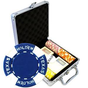 "Mallette de 100 jetons de poker ""TEXAS HOLDEM"" - en ABS insert métallique 12 g - avec accessoires"