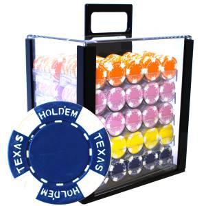 """Bird Cage de 1000 jetons de poker """"TEXAS HOLDEM"""" - en Clay composite 12 g - avec accessoires"""