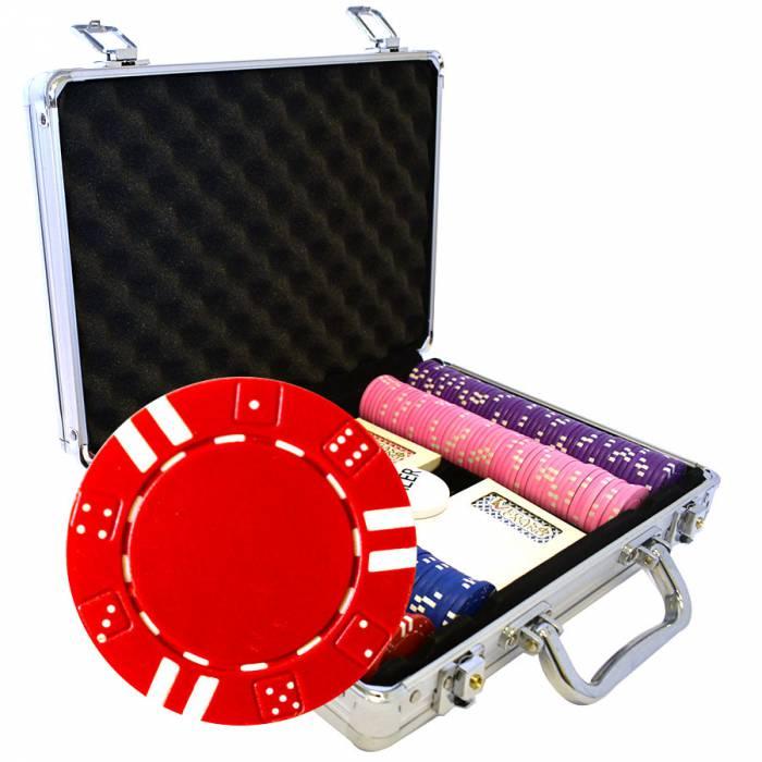 """Mallette de 200 jetons de poker """"DOUBLE DICE"""" - en ABS insert métallique 12 g - avec accessoires"""