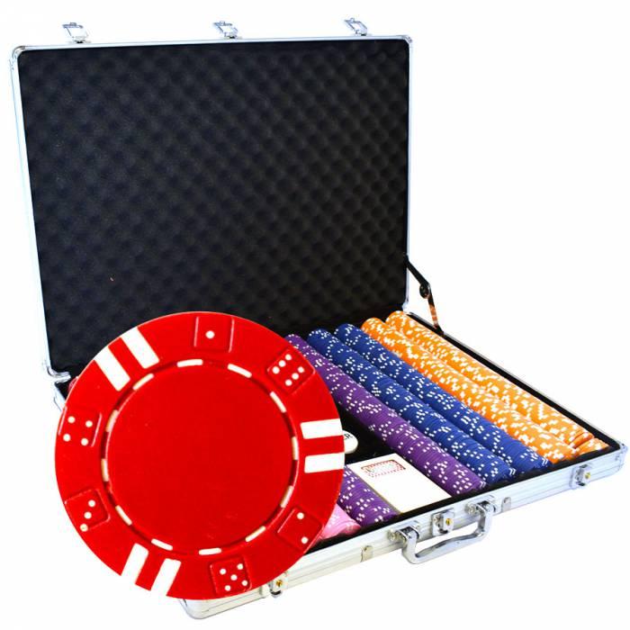 """Mallette de 1000 jetons de poker """"DOUBLE DICE"""" - en ABS insert métallique 12 g - avec accessoires"""