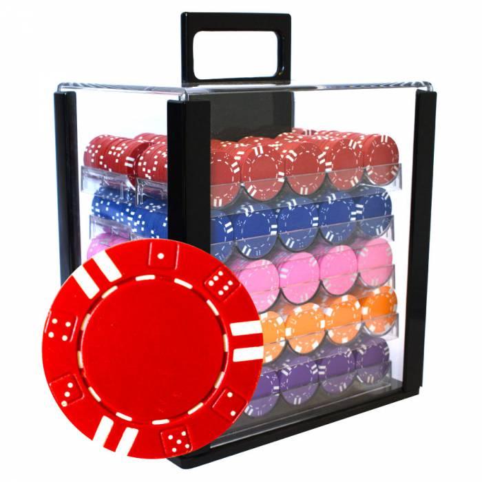 """Bird Cage de 1000 jetons de poker """"DOUBLE DICE"""" - en ABS insert métallique 12 g - avec accessoires"""