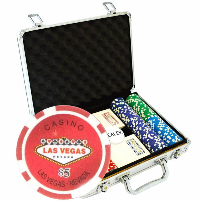 """Mallette de 200 jetons de poker """"WELCOME LAS VEGAS"""" - version CASH GAME - en ABS insert métallique 12 g - avec accessoires"""