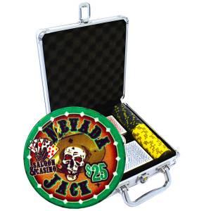 """Mallette de 100 jetons de poker """"NEVADA JACK"""" - version TOURNOI - en céramique 10 g - avec accessoires"""