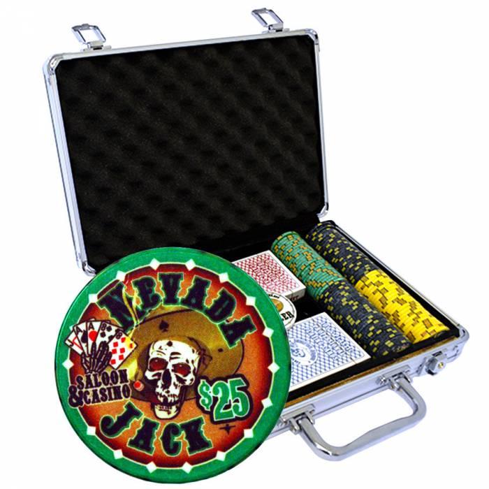 """Mallette de 200 jetons de poker """"NEVADA JACK"""" - version TOURNOI - en céramique 10 g - avec accessoires"""