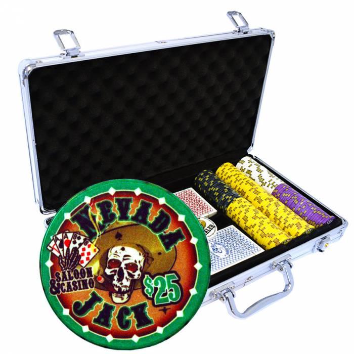 """Mallette de 300 jetons de poker """"NEVADA JACK"""" - version TOURNOI - en céramique 10 g - avec accessoires"""