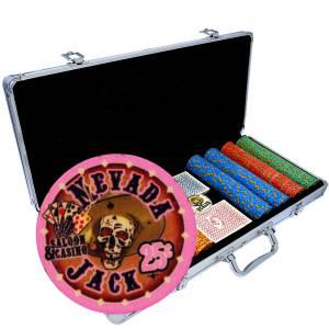 """Mallette de 400 jetons de poker """"NEVADA JACK"""" - version CASH GAME - en céramique 10 g - avec accessoires"""