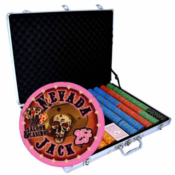 """Mallette de 1000 jetons de poker """"NEVADA JACK"""" - version CASH GAME - en céramique 10 g - avec accessoires"""