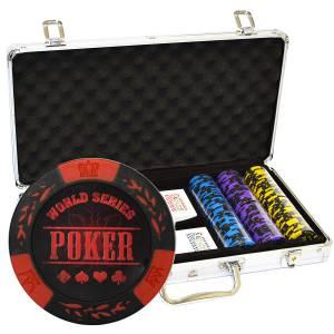 """Mallette de 300 jetons de poker """"WORLD SERIES"""" - en clay composite 14 g - avec accessoires"""