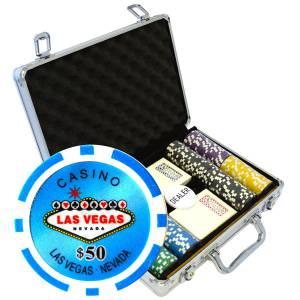 """Mallette de 200 jetons de poker """"WELCOME LAS VEGAS""""-version TOURNOI - en ABS insert métallique 12 g - avec accessoires"""