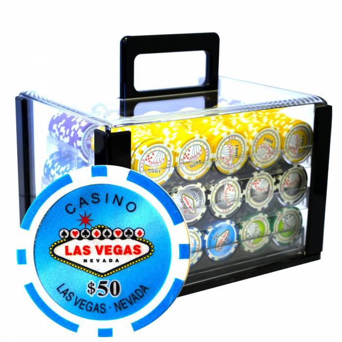 "Bird Cage de 600 jetons de poker ""WELCOME LAS VEGAS"" - version TOURNOI - ABS insert métallique 12 g."