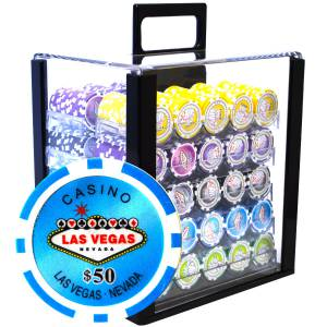 "Bird Cage de 1000 jetons de poker ""WELCOME LAS VEGAS"" - version TOURNOI - ABS insert métallique 12 g."