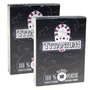 "Duo pack Studson ""TITANIUM"" - 2 jeux de 54 cartes 100% Plastique – format poker – 2 index standards – 2 index jumbo"