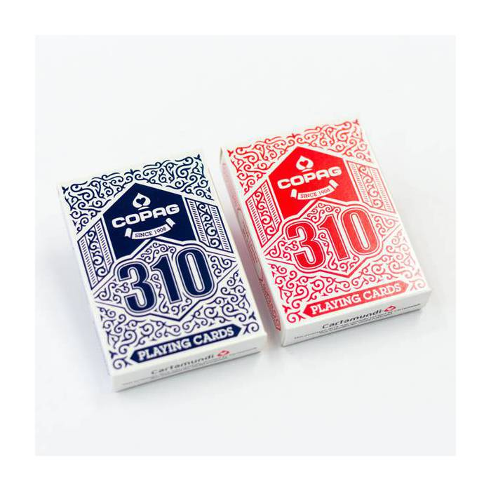 Duo pack COPAG 310 – 2 jeux de 54 cartes toilées plastifiées – format poker – 2 index standards