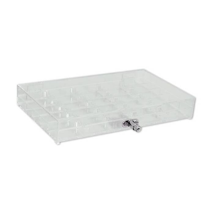 Rack de rangement en acrylique pour 500 jetons de poker – fermeture à clé - compartiments de 20 jetons