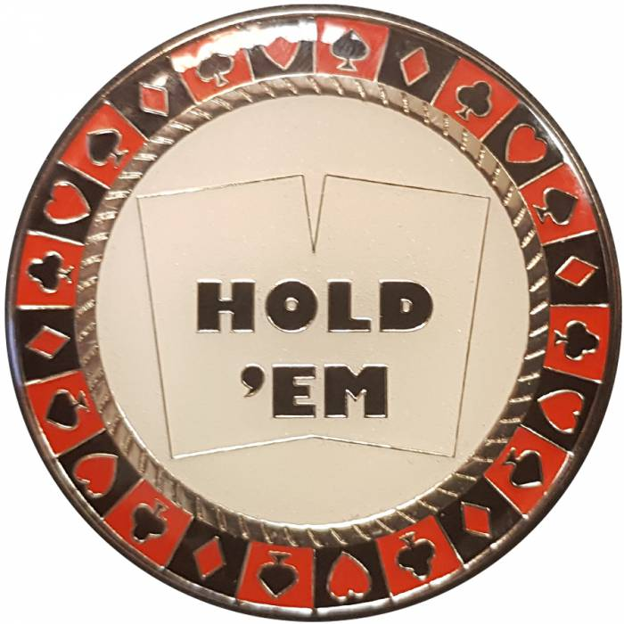 "Card-Guard ""HOLD'EM FOLD'EM"" - en métal – 2 faces différentes – 50mm de diamètre"