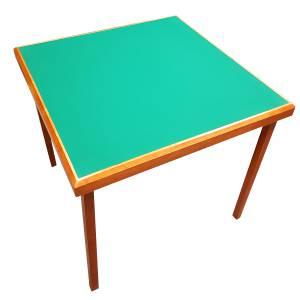 """Table de bridge """"CLUB"""" - avec pieds pliants - tapis style coton vert"""