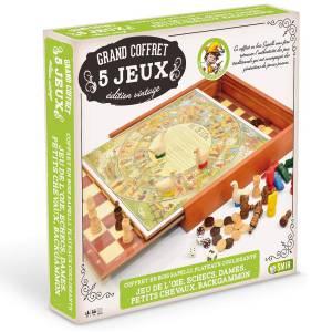"""Coffret Sapelly """"VINTAGE"""" - 5 jeux - plateau coulissant"""