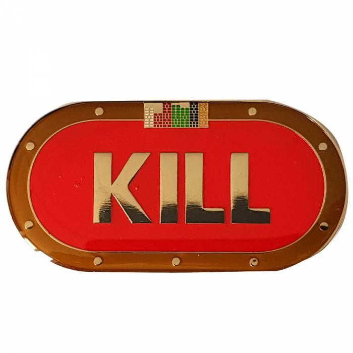 "Card-Guard ""KILL""- en laiton – 2 faces différentes – 65x33mm de diamètre"