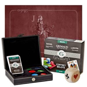 """Pack Cadeau """"BELOTE EXPERT VALET"""" bordeaux - un coffret avec cartes et jetons - 1 tapis de jeu - 1 dé d'atout"""