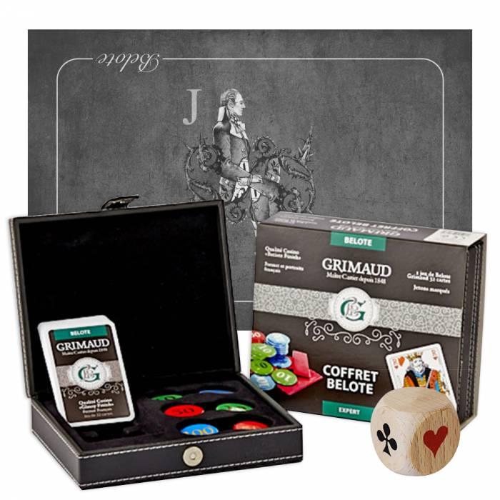 """Pack Cadeau """"BELOTE EXPERT VALET"""" gris - un coffret avec cartes et jetons - 1 tapis de jeu - 1 dé d'atout"""