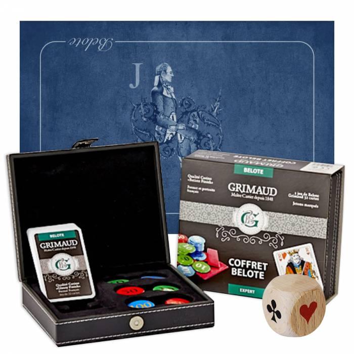 """Pack Cadeau """"BELOTE EXPERT VALET"""" bleu - un coffret avec cartes et jetons - 1 tapis de jeu - 1 dé d'atout"""