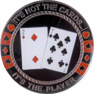 """Card-Guard """"IT'S NOT THE CARDS"""" - en métal – 2 faces différentes – 50mm de diamètre"""
