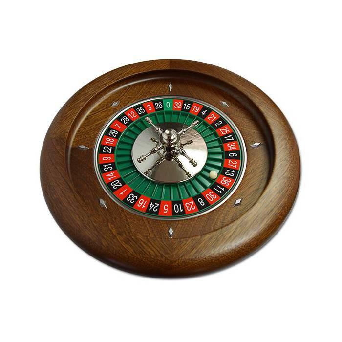 Roulette française de casino en acajou Simple 0 - 36 cm de diamètre – centre en aluminium – avec une bille