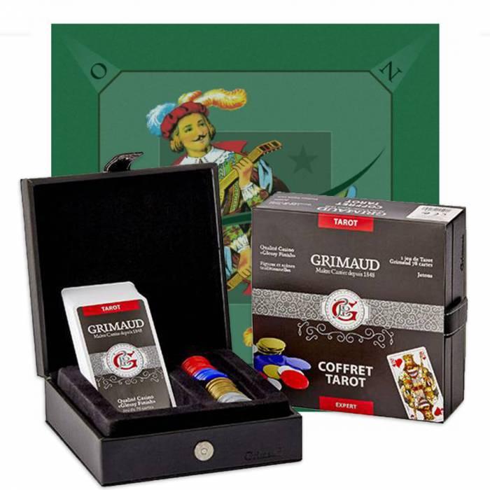 """Pack Cadeau """"TAROT EXPERT L'EXCUSE"""" - un coffret avec 78 cartes - 60 jetons plastique - 1 tapis de jeu"""