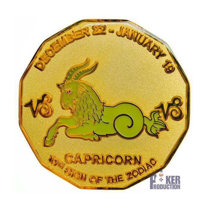 """Card Guard """"CAPRICORNE"""" – 2 faces différentes – 50mm- en laiton"""