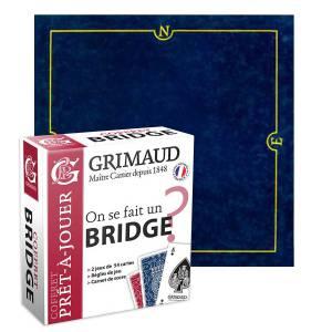 """Pack Cadeau """"ON SE FAIT UN BRIDGE ?"""" bleu - une boite avec 2 jeux de cartes - 1 carnet de score - 1 tapis de jeu"""