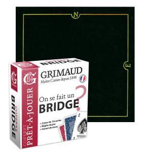 """Pack Cadeau """"ON SE FAIT UN BRIDGE ?"""" noir- une boite avec 2 jeux de cartes - 1 carnet de score - 1 tapis de jeu"""