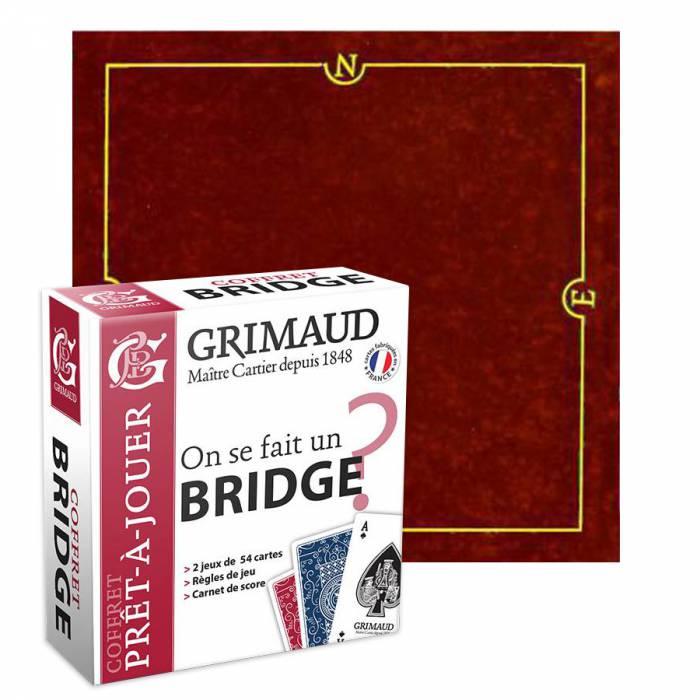 """Pack Cadeau """"ON SE FAIT UN BRIDGE ?"""" rouge - une boite avec 2 jeux de cartes - 1 carnet de score - 1 tapis de jeu"""