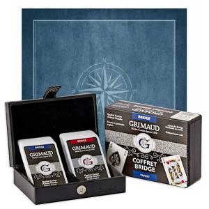 """Pack Cadeau """"BRIDGE EXPERT ROSE DES VENTS"""" bleu - une boite avec 2 jeux de cartes - 1 tapis de jeu"""