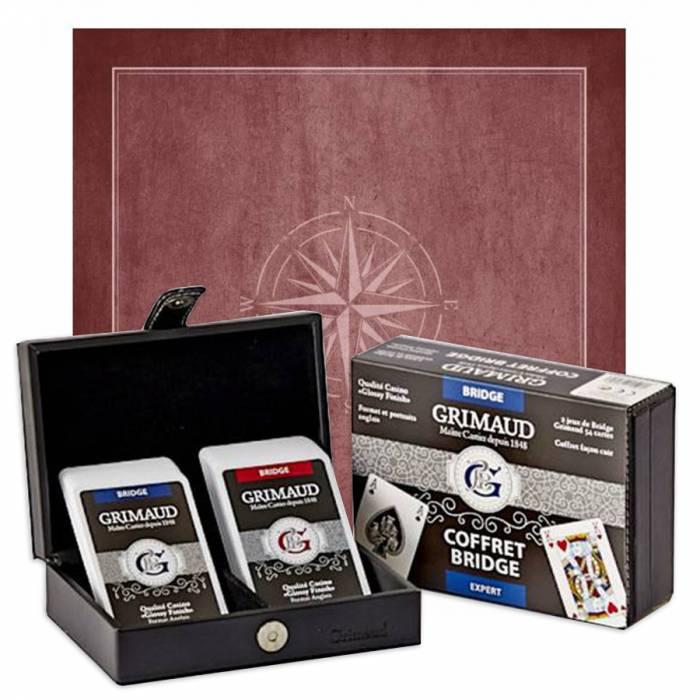"""Pack Cadeau """"BRIDGE EXPERT ROSE DES VENTS"""" gris - une boite avec 2 jeux de cartes - 1 tapis de jeu"""