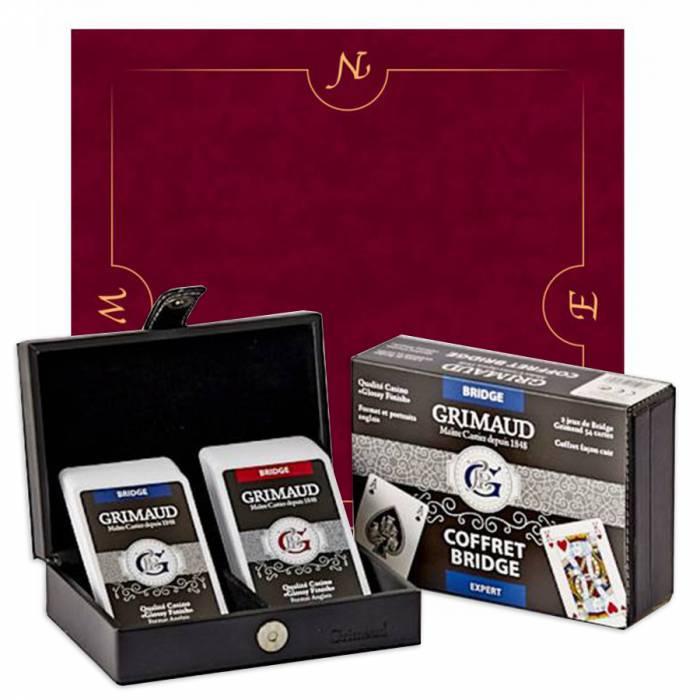 """Pack Cadeau """"BRIDGE EXPERT BORDEAUX & OR"""" - une boite avec 2 jeux de cartes - 1 tapis de jeu"""
