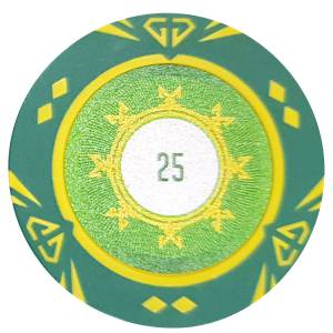 """Jeton de poker """"SUNSHINE"""" - 14g - en clay composite avec insert métal - en vente à l'unité"""