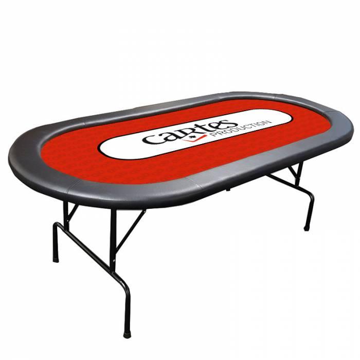 """Table de poker pliante avec """"TAPIS PERSONNALISÉ"""" - tapis jersey néoprène - boudins amovibles - 10 joueurs"""