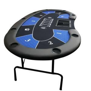 """Table de poker """"HARICOT"""" - avec pieds pliants - tapis jersey néoprène - 9 joueurs + dealer"""