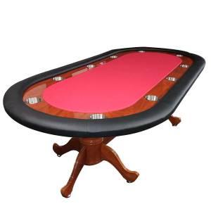 Table de poker BELLINI ARIZONA  – tapis rouge micro suède - 10 joueurs