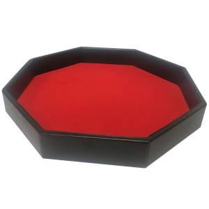 Piste de Dé octogonal simili cuir feutrine rouge