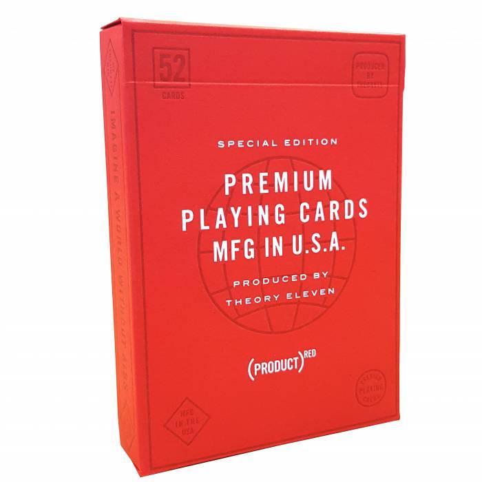 """Theory11 """"PRODUITS (RED)"""" – jeu de 55 cartes toilées plastifiées – format poker – 2 index standards"""
