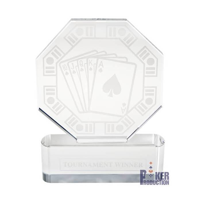 Trophée de poker octogonal TOURNAMENT WINNER – en verre - texte gravé - 20cm de haut