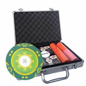 """Mallette de 200 jetons de poker """"SUNSHINE"""" - version TOURNOI - en clay composite 14 g - avec accessoires"""
