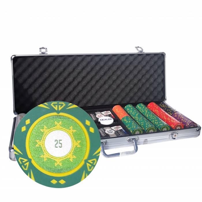 """Mallette de 500 jetons de poker """"SUNSHINE"""" - version TOURNOI - en clay composite 14 g - avec accessoires"""